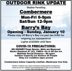 Outdoor Rink Hours January 9, 2021